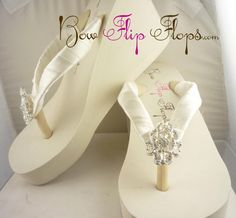 Bridal Wedge Flip Flops Ivory Lace Rhinestone Bling Satin White Jewel Bride Wedding Ribbon Bow, Great for brides, from BridalFlipFlops on Etsy. Bridesmaid Flip Flops, Bow Flip Flops, Wedding Flip Flops, Wedge Flip Flops, Bridesmaid Proposal, Bridal Wedges, Bridal Sandals, Beach Wedding Shoes, Wedding Bride