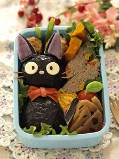 (243) Jiji onigiri bento Kawaii! I love nekos, maybe I should try to make a bento with neko design this summer! | Japanese Food | Pinterest