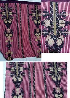Traditional embroidered 'şalvar' (baggy trousers) for women, from the central district of the Balıkesir province. Part of a festive ensemble, ca. 1900. Striped silk, embroidered in black & golden thread. (Source: Tekin Uludoğan, Balıkesir).