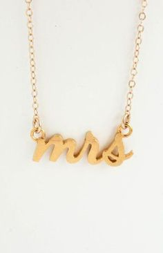 Mrs Necklace Gold Bridal Shower Gift Honeymoon Jewelry