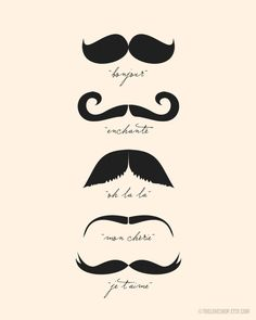 Monsieur Moustache (in Cream and Black) No. 020 - 8x10 French Printable Digital Download Collage Sheet. FREE Delivery via email. $11.00, via Etsy.