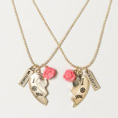 Mother Daughter Heart Necklace Set. i wanna get this for mothers day. shhhhhhhhhhhhhh don't tell my mother