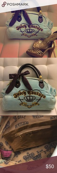 Juicy couture bag Teal and brown colored juicy couture bag. Inside is like new. Outside has signs of wear on straps and rust on gold details( as shown in pictures). Juicy Couture Bags Totes