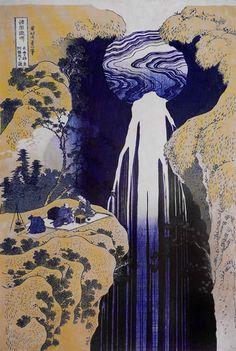 """Kiso-ronooku Amida Ke waterfall"", 1833, Japan, by Katsushika Hokusai"