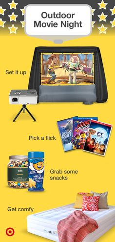Set the scene for an outdoor family movie marathon. Find fun flicks a screen & projector seating & snacks. Set the scene for an outdoor family movie marathon. Find fun flicks a screen & projector seating & snacks. Fun Sleepover Ideas, Sleepover Activities, Sleepover Party, Slumber Parties, Fun Activities, Backyard Movie Nights, Outdoor Movie Nights, Movie Night Party, Family Movie Night