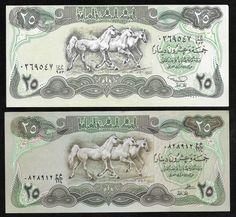 Iraque - 2 cédulas de 25 Dinares em estado flor de estampa sem uso ou dobras! Uma delas sendo a comu