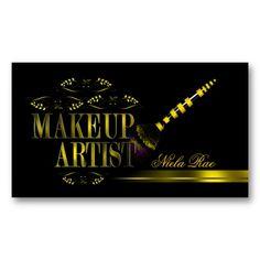 Black and Gold Makeup Artist Business Card