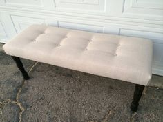 Upholstered bench button tufted end of bed stool by lilykayy