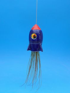 Large, Retro Rocket ship Hanging Planter, Air Plant, Chicken in Space, Whimsical Gift, by CindySearles on Etsy