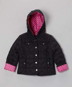 Take a look at this Black Heart Quilted Hooded Jacket - Infant, Toddler & Girls on zulily today!