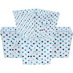 Canvas Bins Blue/Turquoise Dot, Set of 4