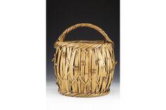 Kagedo Japanese Art Iizuka Rokansai, Blond Bamboo Flower Basket Titled: Bamboo Node - Kagedo Japanese Art