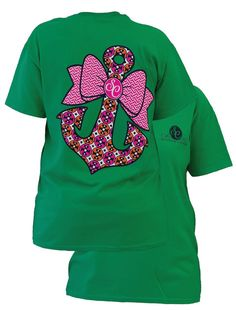 Southern Couture Preppy Classic Anchor Bow Bright Green Tee Shirt by SimplyCuteCottons on Etsy