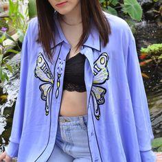 🦋Absolute favorite 100% silk periwinkle button down blouse - Depop  Butterfly Embroidery e9ebbdd86