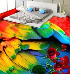 3d Flooring, Bedroom Flooring, Floors, Floor Murals, Colorful Feathers, Modern House Design, Organization Ideas, Bedding, Cool Stuff