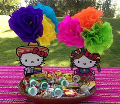 #hellokitty #fiesta cake table decorations! Easy DIY project - YES!!!