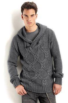 Men's hooded v-neck sweater turtleneck men crewneck hand knitted sweater cardigan pullover men clothing handmade men knitting cabled Knitting Designs, Knitting Patterns, Crochet Men, Hand Knitted Sweaters, Knitting Sweaters, Hand Knitting, Men Sweater, Sweater Cardigan, Sweater Fashion