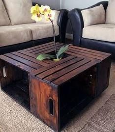 Old crate becomes beautiful coffee table ...  http://repurposeful.myshopify.com/products/earl-crate-coffee-table