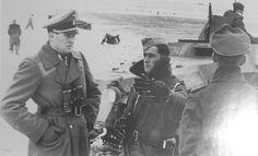 General Teddy Wisch of the 1 SS Division and SS Sturmbanfuher Jochen Peiper,  Kharkov 1943.