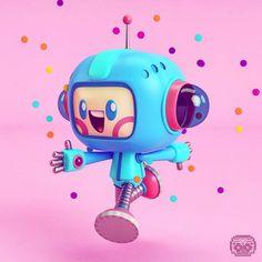 Mas Modelados Kawaii a project by adrian_design. Design Alien, Design 3d, Robot Design, Character Modeling, Game Character, Character Concept, Robots Characters, Cute Characters, Robot Cute