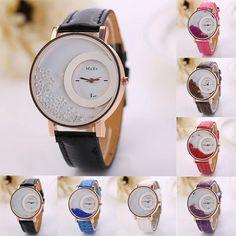157a74d2e0f6 Relógio feminino quartzo com cristais movéis na caixa e pulseira em couro