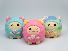 Approx. 15cm Sweet kawaii sheep squishies covered in squishy wool. Light sweet scent. Warning: Choking Hazard. Not for children...
