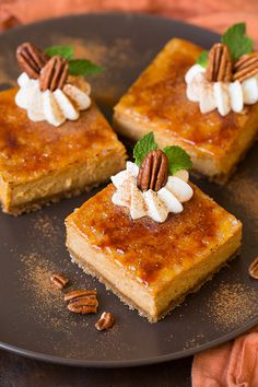 Pumpkin Brulee Cheesecake Bars - Cooking Classy