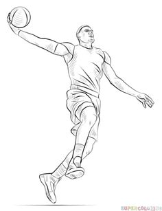 How to draw a basketball player dunking step by step. Drawing tutorials for kids and beginners. Basketball Drawings, Sports Drawings, Basketball Art, Basketball Players, Cartoon Drawings, Drawing Sketches, Pencil Drawings, Art Drawings, Football Drawings