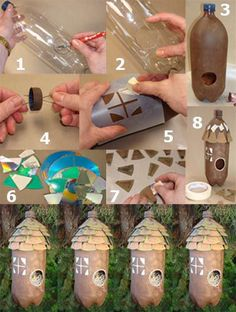 Home made bird houses recycle have fun and bring music for Plastic bottle bird house