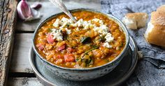 Flavorful and super delicious Indian dal with spinach and crumbled feta