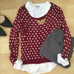 Kensie >> Polka Dot Sweater Adorable Red and White Polka Dot. Little wear, in great shape. No snags. So easy to style!!! Kensie Sweaters Crew & Scoop Necks