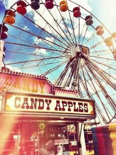 Candy apples, cotton candy, kettle corn, yellow and blue tickets, and expensive rides.