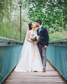 A wedding kiss on a wood bridge in Unionville, ON. Wedding Kiss, Wedding Blog, Wedding Photos, Pastel Palette, Toronto Wedding Photographer, Wood Bridge, Beautiful Couple, Big Day, Bridesmaid