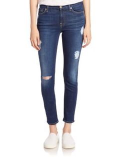 7 FOR ALL MANKIND B(Air) Distressed Ankle Skinny Jeans. #7forallmankind #cloth #jeans