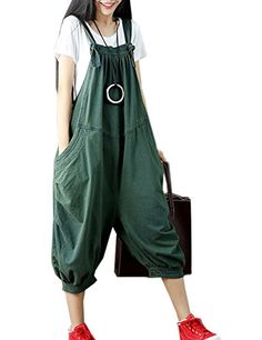 cc2cda865613 Flygo Women s Loose Baggy Cotton Wide Leg Jumpsuits Rompers Overalls Harem  Pants (M (US Style 01 Green)