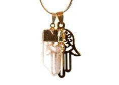 Image of HAMSA Quartz Pendant Necklace