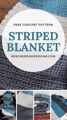 Crochet Blanket Pattern - Color Blocked Stripes Simple Color Blocked Blanket - Crochet Pattern by Rescued Paw Designs Striped Crochet Blanket, Easy Crochet Blanket, Crochet For Beginners Blanket, Crochet Patterns For Beginners, Afghan Crochet Patterns, Crochet Blankets, Baby Blankets, Beginner Crochet, Crochet Afghans
