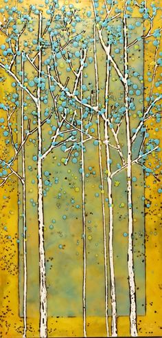 She Made it Happen, encaustic tree painting by Catharine Clarke Tree Paintings, Tree Artwork, Colorful Paintings, Beautiful Paintings, Landscape Paintings, Stained Glass Studio, Cast Glass, Birch Trees, Canadian Art