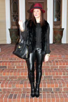 Wake Up Your Wardrobe What I Wore: Onyx Felt Fedora, Black Fur Vest, Faux Leather Leggings, Phillip Lim for Target, Sam Edelman Margo Booties