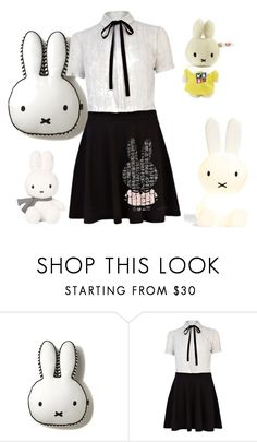 """Miffy!"" by imaginarywellyboots ❤ liked on Polyvore featuring River Island, Spineless Classics and Steiff"