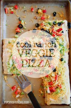 Cool Ranch Veggie Pizza -- my ace-in-the-hole for getting the kids to eat fresh veggies -- at my3monsters.com