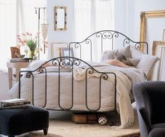 Charles P. Rogers Beds Direct Breton Bed, Iron Beds - Artfully forged iron work captures the charm of the French countryside from where this design originated. It is entirely hand forged of solid iron bar with our authentic antique black finish. Queen bed pictured. Twin bed is available with optional pop-up trundle unit (see link at right).