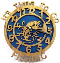 It's time to go Fishing clock scroll saw by ScrollSawTreasures