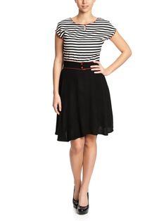 Stripey Dress black/white   napo-shop.de