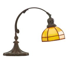 """35: HANDEL Estimate: $600 - $800 Adjustable piano lamp, Meriden, CT, 1910s-20s; Patinated metal, obverse- and reverse-painted glass, single socket; Shade numbered 2703; As shown: 14"""" x 15"""" x 7"""""""