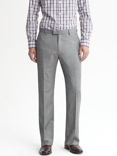 Tailored slim light grey wool trouser | Banana Republic