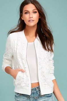 Add flirty flair to every outfit with the La Femme White Lace Bomber Jacket! Lovely lace forms this adorable bomber jacket with ribbed knit at the collar, cuffs, and hem. Front welted pockets and silver zipper front. Lace Blazer, Lace Jacket, Jacket Style, Bomber Jacket Outfit, Diy Couture, Tunic Tank Tops, Casual Fall Outfits, Look Cool, Blazers