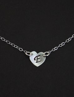 Monogrammed Sterling Silver Jewelry  Silver Heart by MenuetDesigns, $26.50
