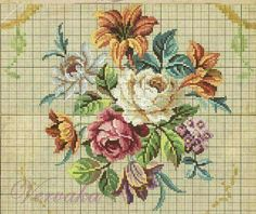 This Pin was discovered by mel Xmas Cross Stitch, Cross Stitch Borders, Cross Stitch Rose, Cross Stitch Flowers, Cross Stitch Charts, Cross Stitch Designs, Cross Stitching, Cross Stitch Embroidery, Cross Stitch Patterns