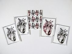 Anatomical Heart Alternative Valentines Postcards by RikkiBattle £2.20 for 1 of £8 for all 5